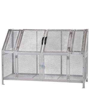 ジャンボメッシュST1100(ミヅシマ工業) 内容量約1200L 約1800× 700 × 1200mm 分別屑入 施設用品 スチール製 ゴミ保管庫 お客様組立製品 exis