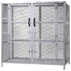 ジャンボメッシュST2450(ミヅシマ工業) 内容量約2900L 約1800× 900 × 1800mm 分別屑入 施設用品 スチール製 ゴミ保管庫 お客様組立製品 exis