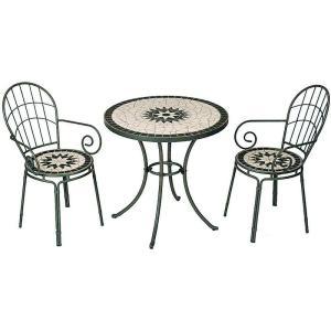 【テーブル&チェアー】タンジールモザイクセットマットグリーン【ガーデンファニチャー/カフェテーブル】|exis
