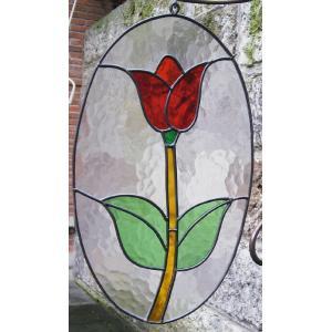 レトロ ステンドグラス チューリップ楕円(87055)|exis