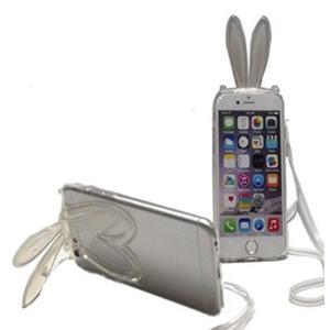 うさ耳 iphone ケース iPhone6 4.7インチ シリコン 保護 スタンド型 カバーケース ホワイト 送料無料|exlead-japan