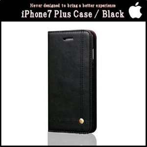 PUレザー手帳型スマホ ケース カバー (iPhone7 Plusブラック) 送料無料|exlead-japan