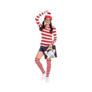 ウォーリーを探せ Where's Wally コスプレ ウォーリー ウェンダ コスチューム レディース(帽子+Tシャツ+ソックス+レンズなしメガネ) 送料無料|exlead-japan
