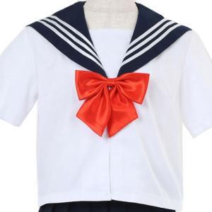 セーラー服 半袖 上着のみ S 女子高生 ハロウィン クリスマス 宴会 飲み会 結婚式 二次会 余興(半袖白色,赤リボン,セーラー服上着のみ S) 送料無料|exlead-japan