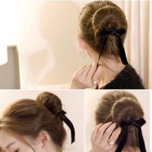 ? リボン付の簡単おだんごヘアアレンジ スティック シニヨン ?  おしゃれな髪型を簡単に作る事が出...
