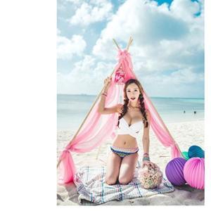 夏レディース 水着 セクシー ビキニ 欧米風 セパレート 民族風 全7色 温泉もできる 目立つ 小胸もピッタリ (ホワイト・Mサイズ) 送料無料|exlead-japan