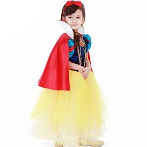 子供用 白雪姫風 ドレス+マント 2点セット プリンセス風 ワンピース 女児 女の子 白雪姫風 ドレス (140サイズ) 送料無料|exlead-japan