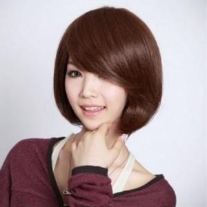 ウィッグ ボブ カール ななめ 前髪 ショートボブ 長め サラサラ 巻き髪 フルウィッグ 耐熱 コスプレ ネット付き 送料無料|exlead-japan