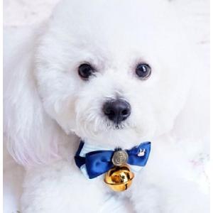ブルー リボン の ゴージャス な リボン タイ カレッジ 風 飾り ペット 用 首輪 りぼん 蝶ネクタイ お散歩 犬 用 猫 用 ドッグ 用品|exlead-japan