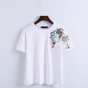 レディース Tシャツ ホワイト 花柄 刺繍  ショルダ― ラウンドネックTシャツ 送料無料|exlead-japan