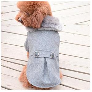 ライトグレー S 犬用 ふわふわ ファー付き コート  冬用 防寒 ツィード ドッグウェア  リンクコーデ|exlead-japan