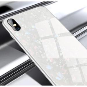 iphoneケース ガラスシェル キラキラ 高級感 宝石 ツヤ (ホワイトiphone XR)  i...