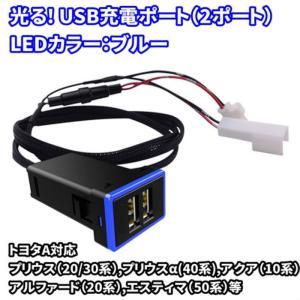 周りが光る/ブルー USB充電ポート増設キット / USB2ポート 送料無料|exlead-japan