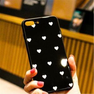 iphoneケース ハートドット柄 シンプル  キュート (黒色白ハート、iphoneXmax) 送料無料|exlead-japan