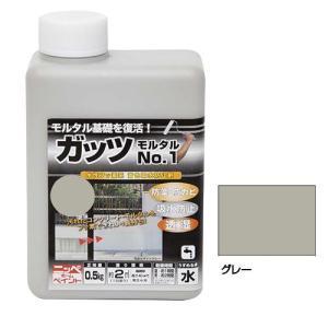 ニッペホームペイント ガッツ モルタルNo.1 グレー 0.5kg ペンキ フッ素 着色吸水防止剤 コンクリート 住宅基礎 水性 塗装 塗料|exlead-japan