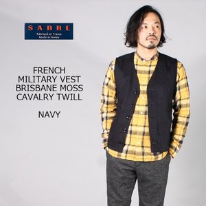 SABRE サブレ  FRENCH MILITARY VEST - BRISBANE MOSS CAVALRY TWILL - NAVY|explorer