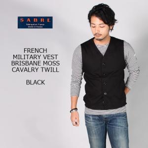 SABRE サブレ  FRENCH MILITARY VEST - BRISBANE MOSS CAVALRY TWILL - BLACK|explorer