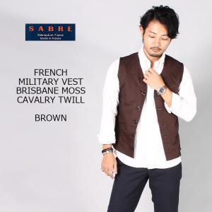 SABRE サブレ  FRENCH MILITARY VEST - BRISBANE MOSS CAVALRY TWILL - BROWN|explorer