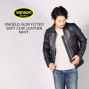 VANSON バンソン  ENFIELD-SLIM FITTED SOFT COW LEATHER - NAVY|explorer
