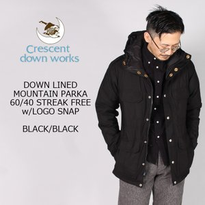 CRESCENT DOWN WORKS クレセントダウンワークス  DOWN LINED MOUNTAIN PARKA 60-40 STREAK FREE w- LOGO SNAP - 4colors|explorer