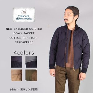 CRESCENT DOWN WORKS クレセントダウンワークス  NEW SKYLINER QUILTED DOWN JACKET COTTON RIP STOP - STREAKFREE - 4colors|explorer