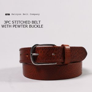 HALCYON BELT COMPANY(ハルシオンベルトカンパニー)  3PC STITCHED BELT WITH PEWTER BUCKLE / LT BROWN|explorer
