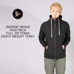 FELCO (フェルコ)  INVERSE WEAVE HIGH NECK FULL ZIP PARKA HEAVY WEIGHT TERRY / BLACK|explorer