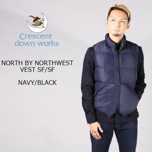 CRESCENT DOWN WORKS クレセントダウンワークス  NORTH BY NORTHWEST VEST SF-SF - NAVY-BLACK ダウンベスト メンズ|explorer