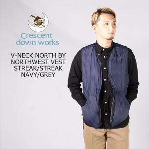 CRESCENT DOWN WORKS クレセントダウンワークス  V-NECK NORTH BY NORTHWEST VEST STREAK-STREAK - NAVY-GREY ダウンベスト メンズ|explorer