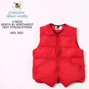 CRESCENT DOWN WORKS クレセントダウンワークス  V-NECK NORTH BY NORTHWEST VEST STREAK-STREAK - RED-RED ダウンベスト メンズ|explorer