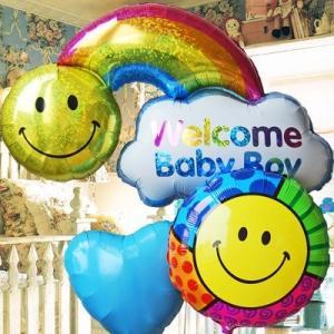出産祝い 男の子 ママ&ベイビーをWelcomeバルーンでお出迎え♪ ウェルカムベイビー レインボーBoy 85901 express