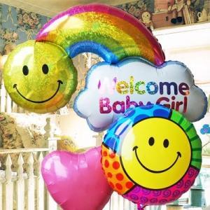 出産祝い 女の子 誕生祝い Welcomeバルーンでお出迎え♪  ウェルカムベイビー レインボーGirl85900 出産 express