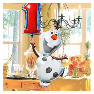 誕生日バルーン オラフ 【with ナンバー 】 Frozen 28316 数字 ディズニー アナと雪の女王 Disney アナ雪 バルーンギフト 1歳 2歳 3歳 女の子 男の子 孫 express