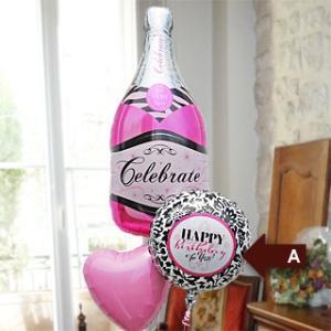 開店祝い 結婚式 誕生日(お祝い バルーン  シャンパンボトル ★Pink 15844 )|express