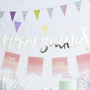 GingerRay バースデー バナー Happy Birthday ゴールド GGRPM-910 誕生日 パーティー 飾り セット ガーランド  ヒュッケ ヒュッゲ hygge|express