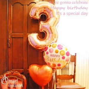 ヘリウムガス入 バルーン 誕生日 Lucky ナンバー Big ローズゴールド 66cm 周年祝い 誕生日プレゼント  Happy Birthday|express