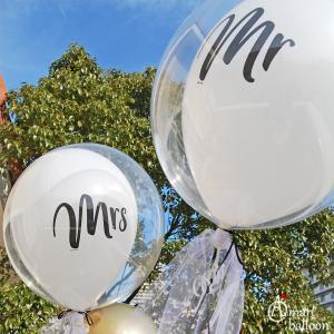 電報 結婚式 バルーン MR MRS ミスター ミセス バルーン 3個セット  ウエディング 祝電 おしゃれ 台紙 バルーン電報 バルーンギフト フリンジ タッセル お祝い|express