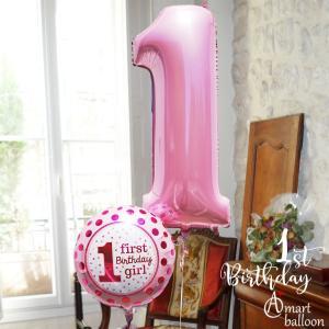 誕生日 バルーン パステル Lucky ナンバー 【ピンク】 26071 数字 1歳  ファースト バースデイ 女の子 アンパンマン  一升餅   一歳 お誕生日プレゼント|express