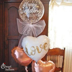 電報 結婚式 クリア バルーン Plus メッセージ 結婚祝い おしゃれ バルーン電報  台紙 ウエディング 入籍祝い 高さ180cm|express