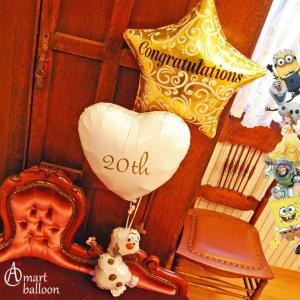 バルーン 成人式 20th With キャラDeco バルーン電報 プレゼント お祝い ギフト 風船 ディズニー キャラクター ヘリウムガス入り 20歳 誕生日 名入れ 可能|express