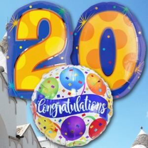料無料 成人式 お祝い バルーン 20 Congrats! バルーンギフト バルーン電報 電報 風船 数字 誕生日 成人式  メッセージ 男性 女性 20歳 プレゼント|express