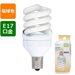 06-0245 EFD15EL/12-E17SPN エコ電球 60W相当/12W 電球色 E17 OHM(オーム電機)|exsight-security