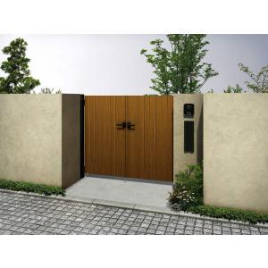 縦板張り門扉 両開き BW03型 YKKルシアス W600+600mm×H1200mm 送料無料 鋲なし オーナメント付 DIY 格安 木調カラー 色選択可能|exterior-stok