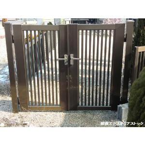 門扉縦格子  両開き 内開き 600mm+600mm 高さ1000mm 送料無料 格安 DIY|exterior-stok