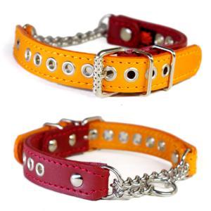 ハーフチョーク ボストン ジャックラッセル 小中型犬用 革:2cm Type Choker 004(オレンジ&赤) extraheavyy
