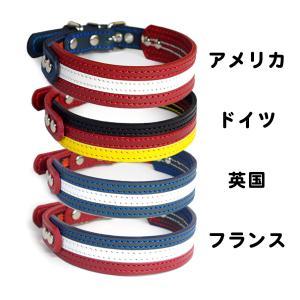 首輪 中型犬用  革 3cm幅:3cm Type 3-f000-flag 【国旗カラーデザイン】|extraheavyy