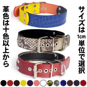 首輪 中型犬用  革 3cm幅:3cm Type FB  【色は十色以上から、サイズは1cm単位でオーダー】|extraheavyy