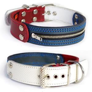 3cm幅中型犬用ジッパー革首輪(赤+紺+型押し白)3cmTypeFBZipper|extraheavyy