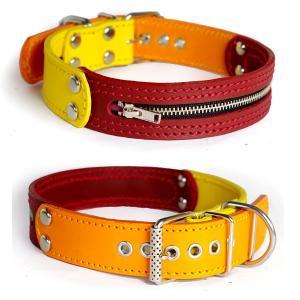 3cm幅中型犬用ジッパー革首輪(黄+赤+オレンジ)3cmTypeFBZipper|extraheavyy