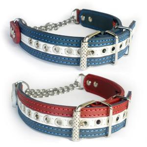 ハーフチョーク 中形犬用 革 3cm幅:3cm Type チョーカー FB 国旗カラー|extraheavyy